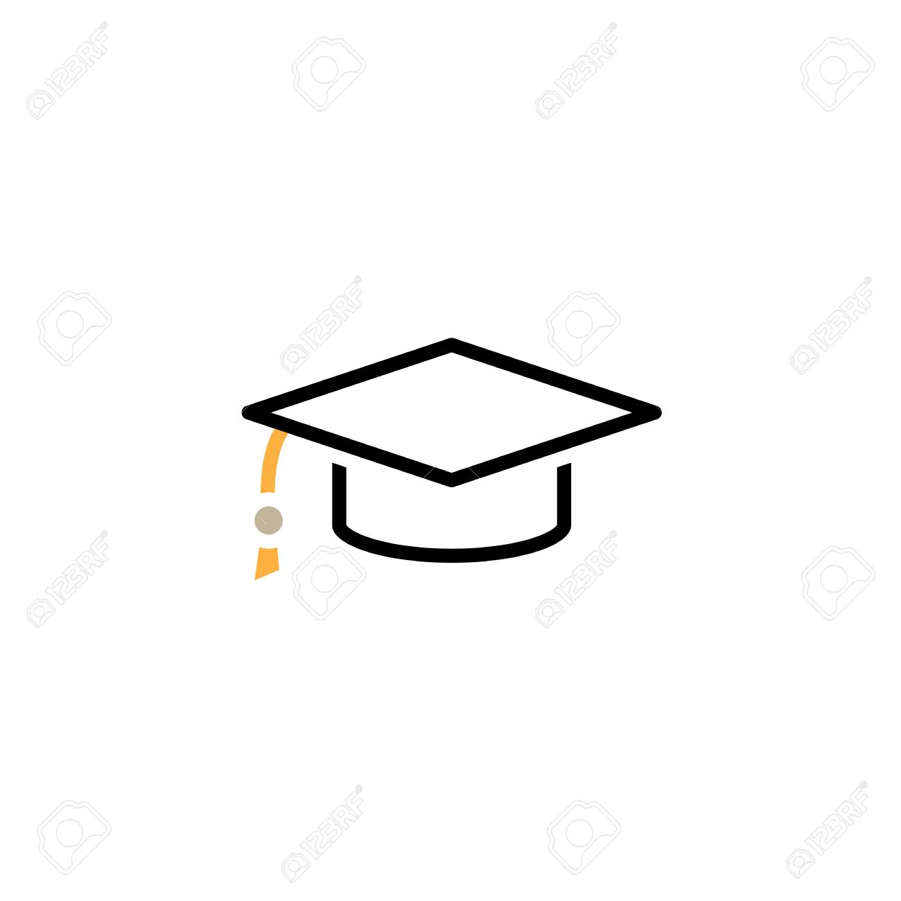 graduation cap line icon, outline vector logo illustration, linear pictogram isolated on white